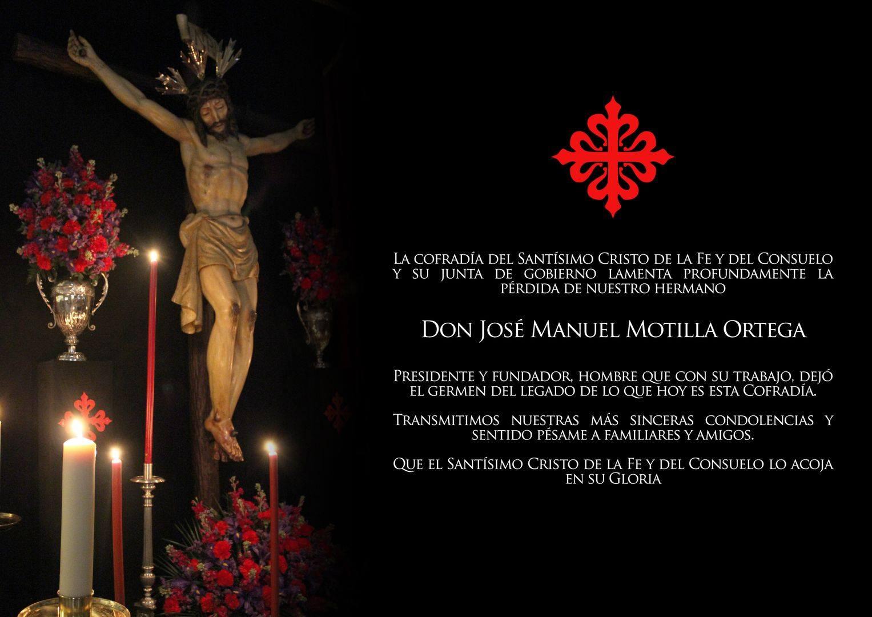 Perdida de nuestro hermano D. José Manuel Motilla Ortega
